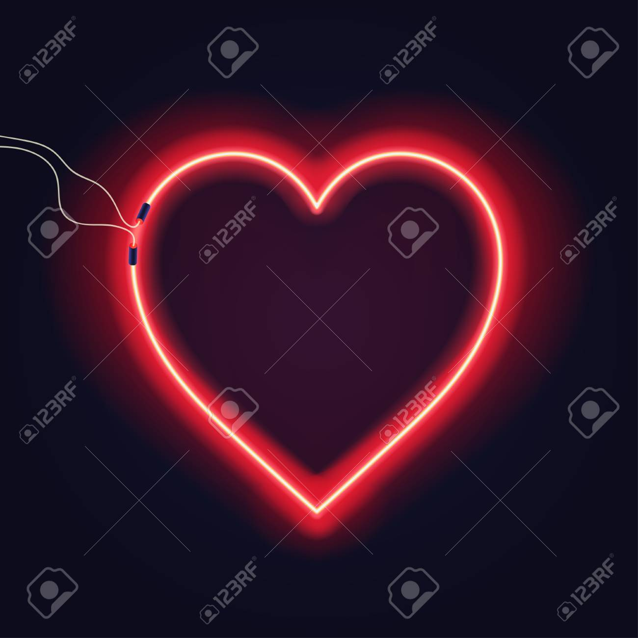 Neon heart sign with wires on dark background. Bright neon glow effect. Vector - 85822621