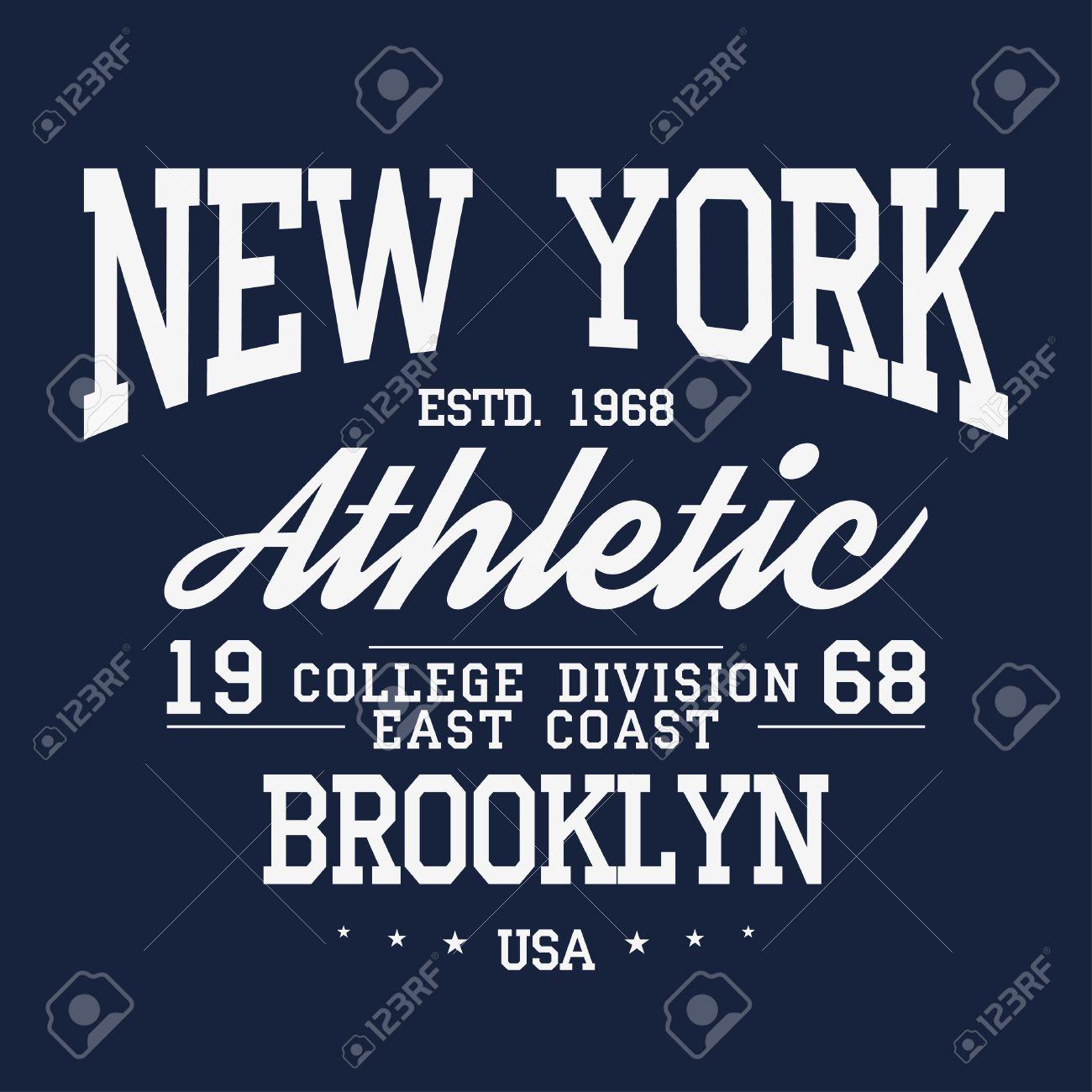 New York, Brooklyn typography, badge for t-shirt print. Varsity style t-shirt graphics. Vector - 87350237