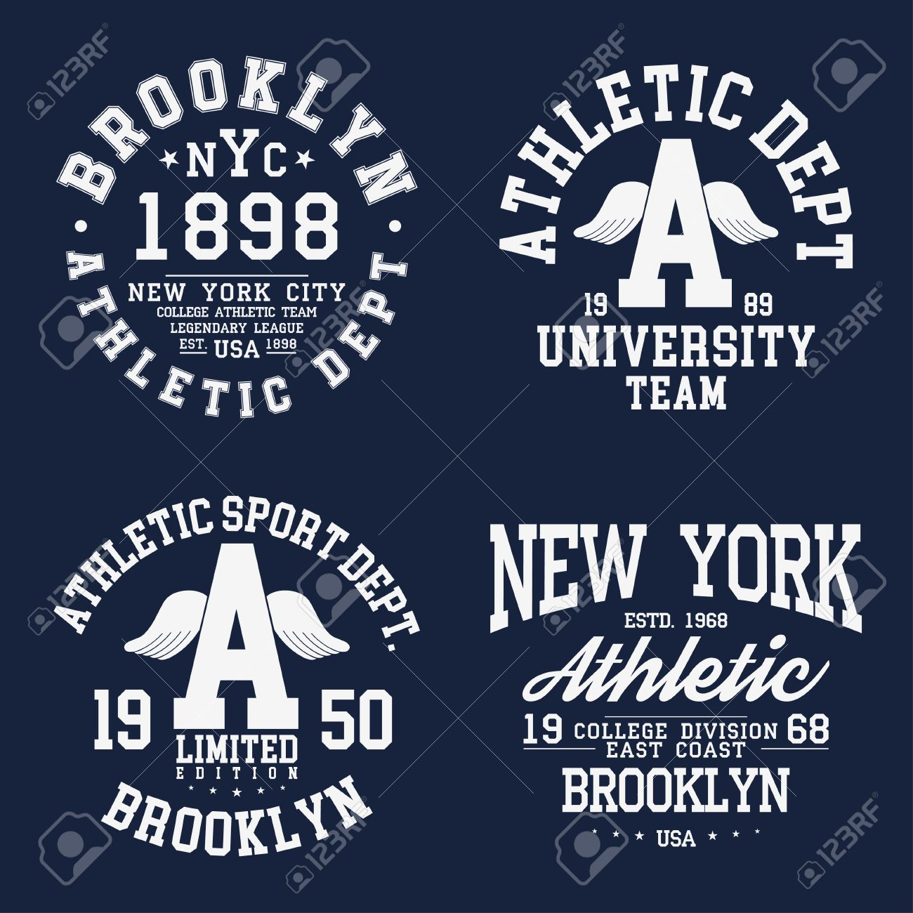 d5aaf76f6 New York, Brooklyn typography, badges set for t-shirt print. Varsity style