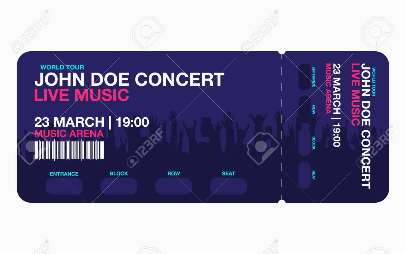 コンサート チケットのテンプレートです コンサート パーティーやお祭りのチケット デザイン テンプレートの背景に人の群衆 ベクトルのイラスト素材 ベクタ Image