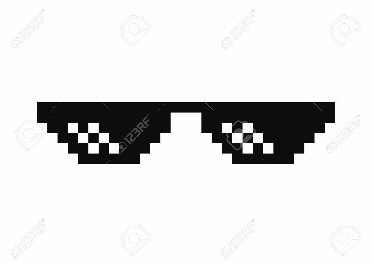 Pixel art glasses. Thug life meme glasses isolated on white background. Vector - 89916905