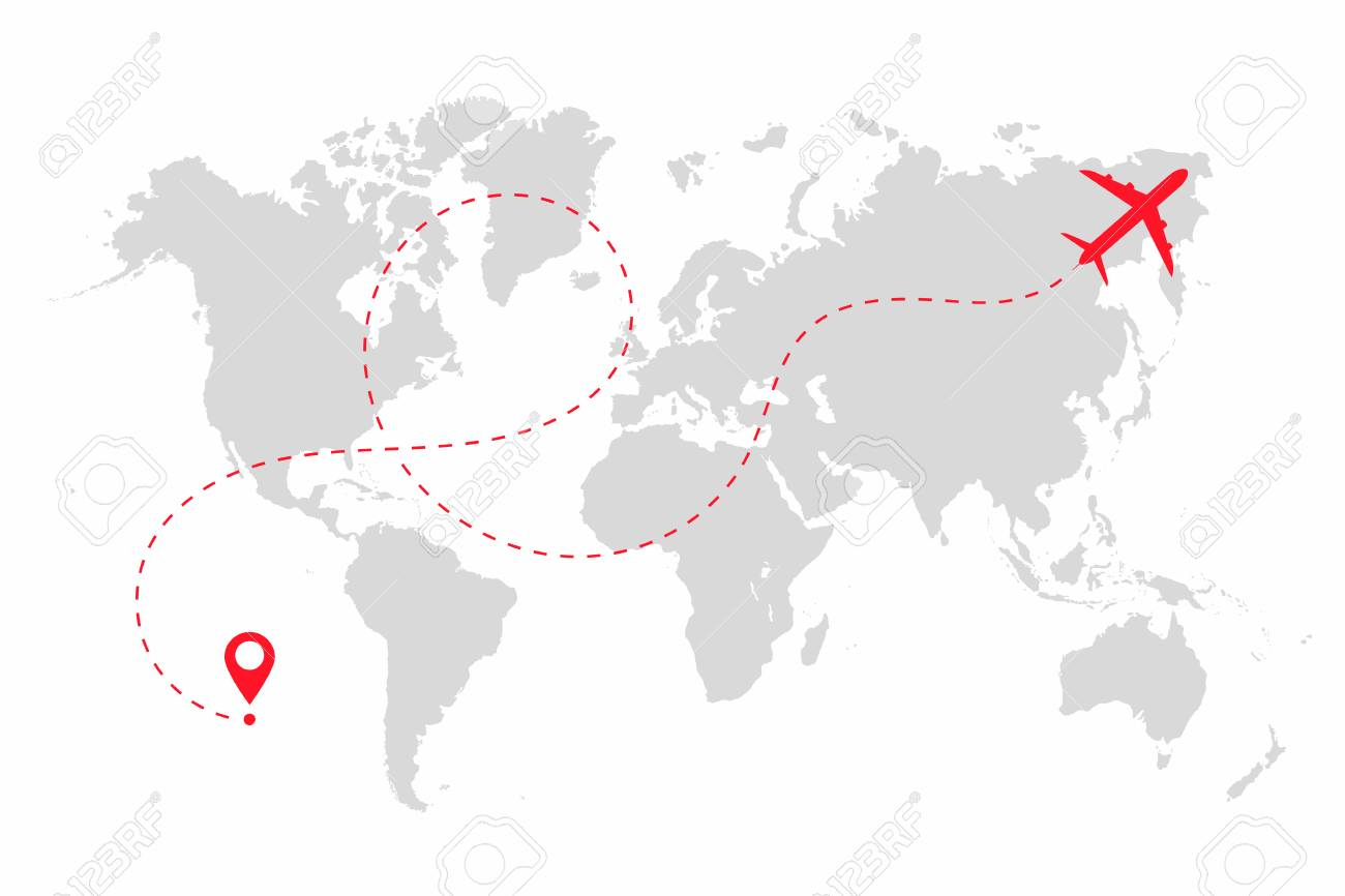 Airplane path in dotted line shape on world map route of plane airplane path in dotted line shape on world map route of plane with world map gumiabroncs Image collections
