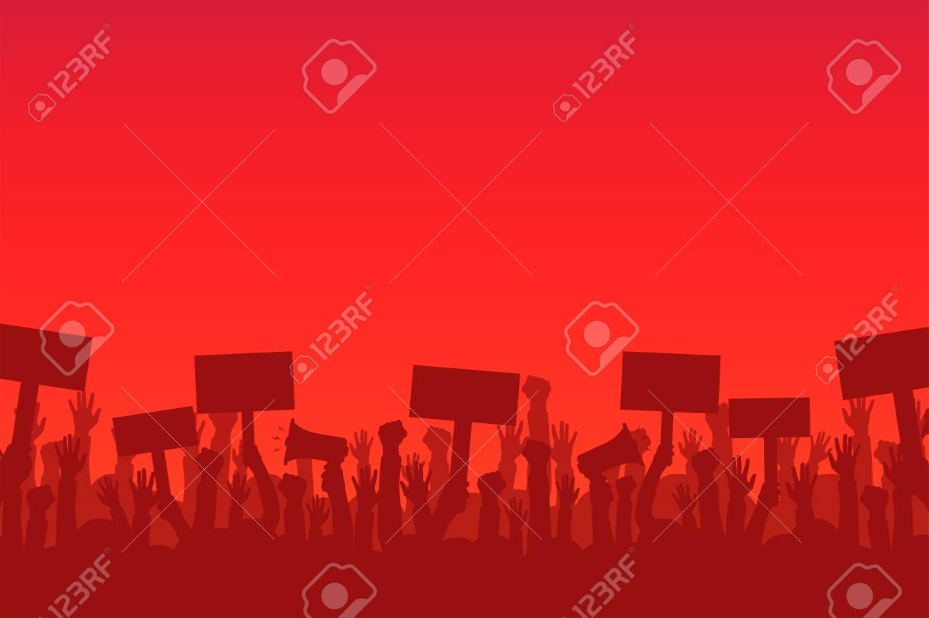 Crowd of protesters people. Silhouettes of people with banners and megaphones. Concept of revolution or protest. - 92248302