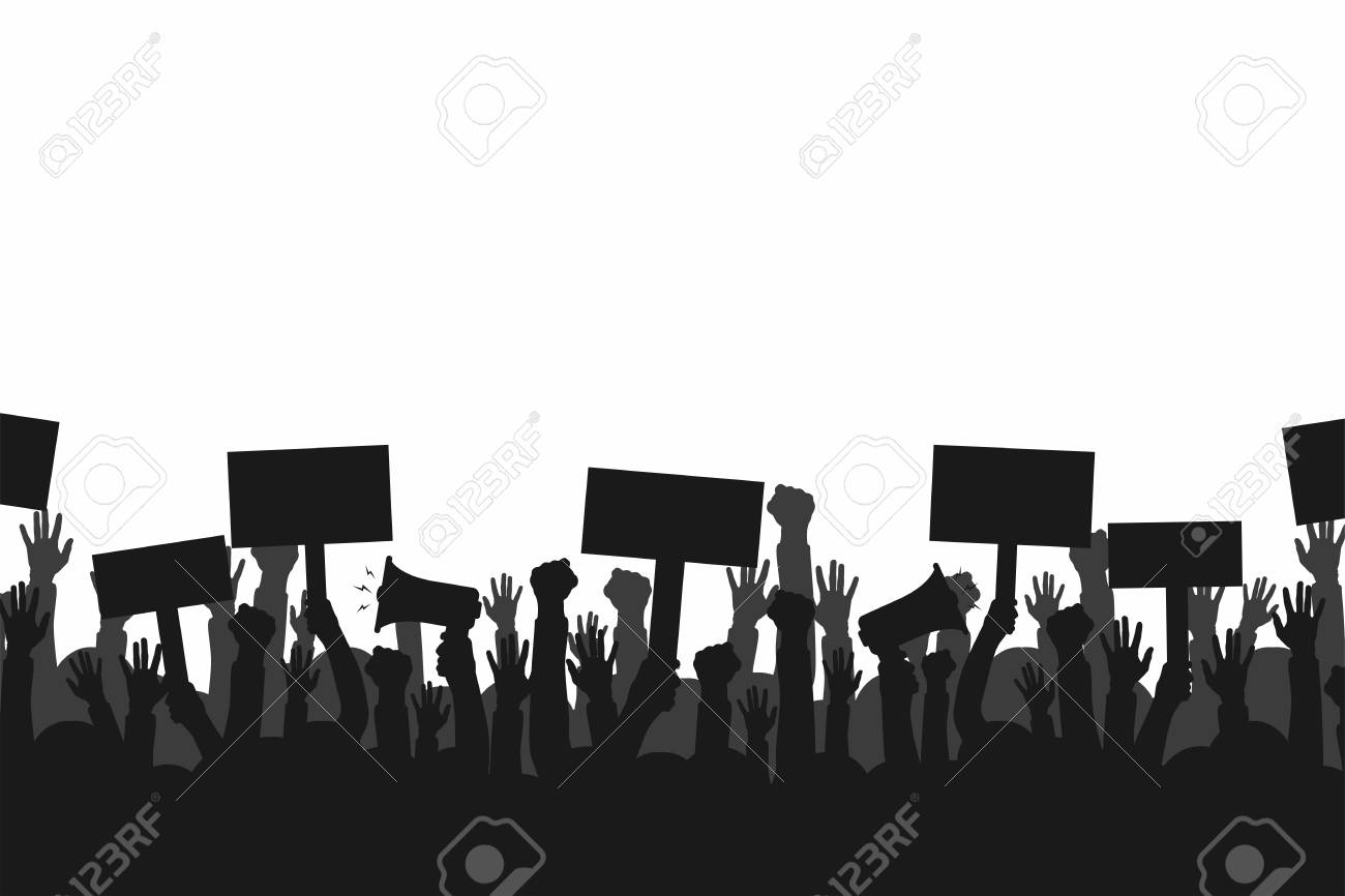 Crowd of protesters people. Silhouettes of people with banners and megaphones. Concept of revolution or protest. - 92248309