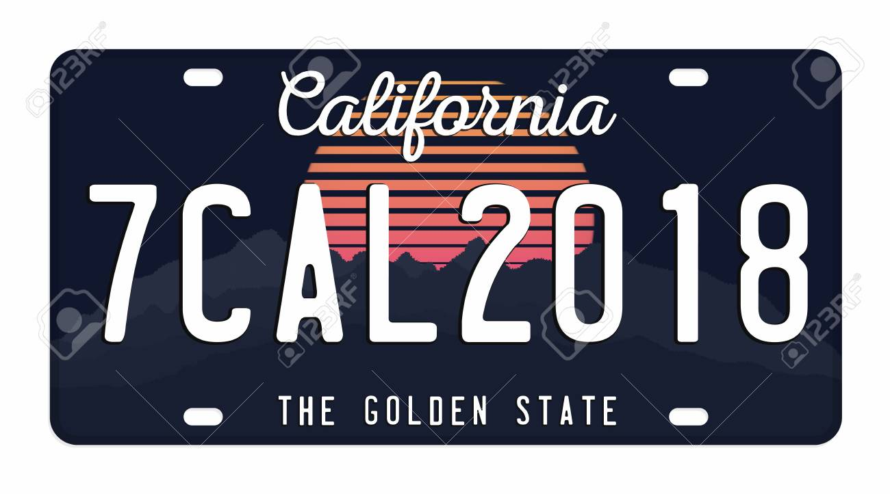 License plate isolated on white background  California license