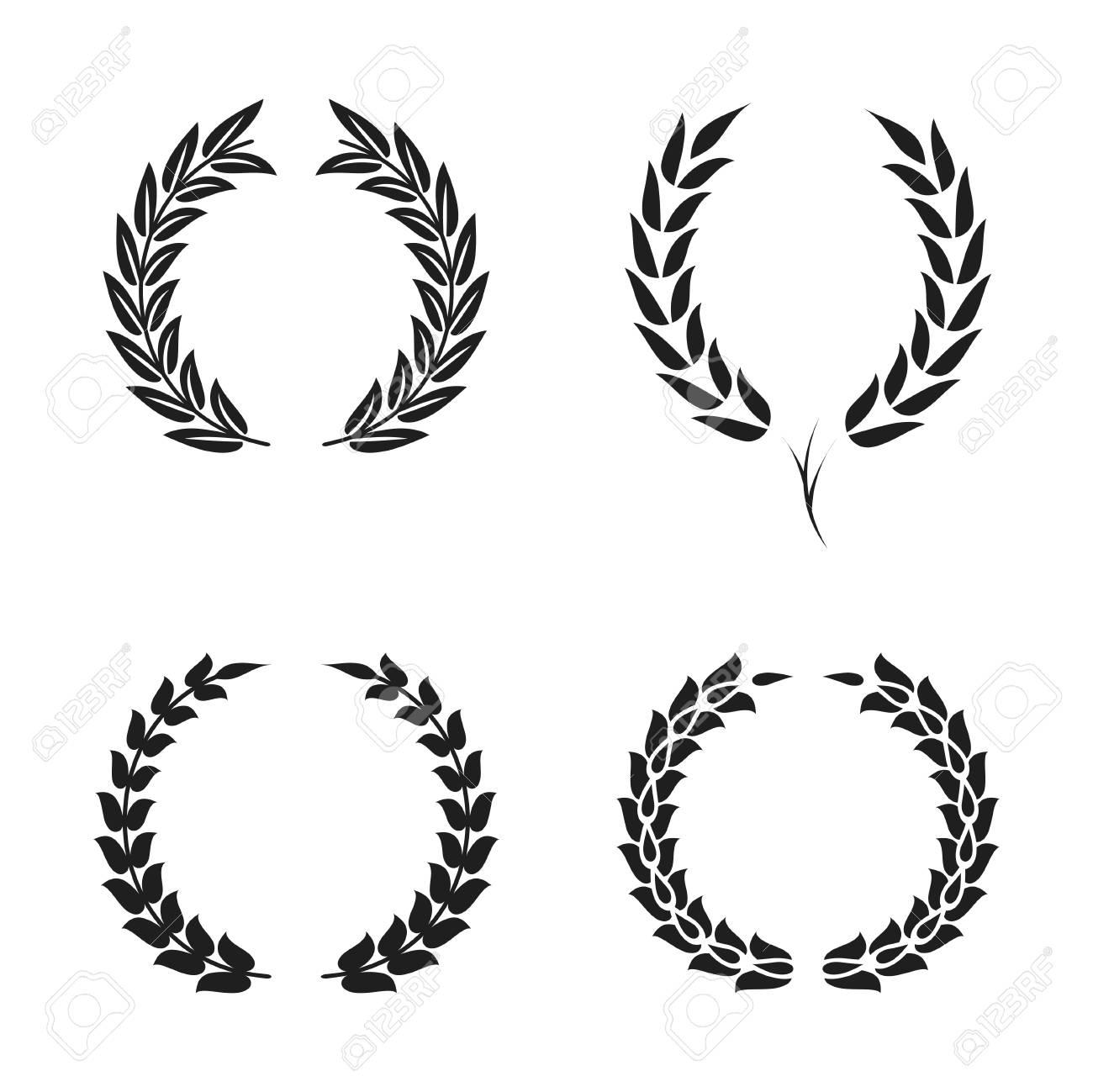 cheap for discount look good shoes sale united kingdom Laurel wreath foliate symbols set. Black circular silhouettes..