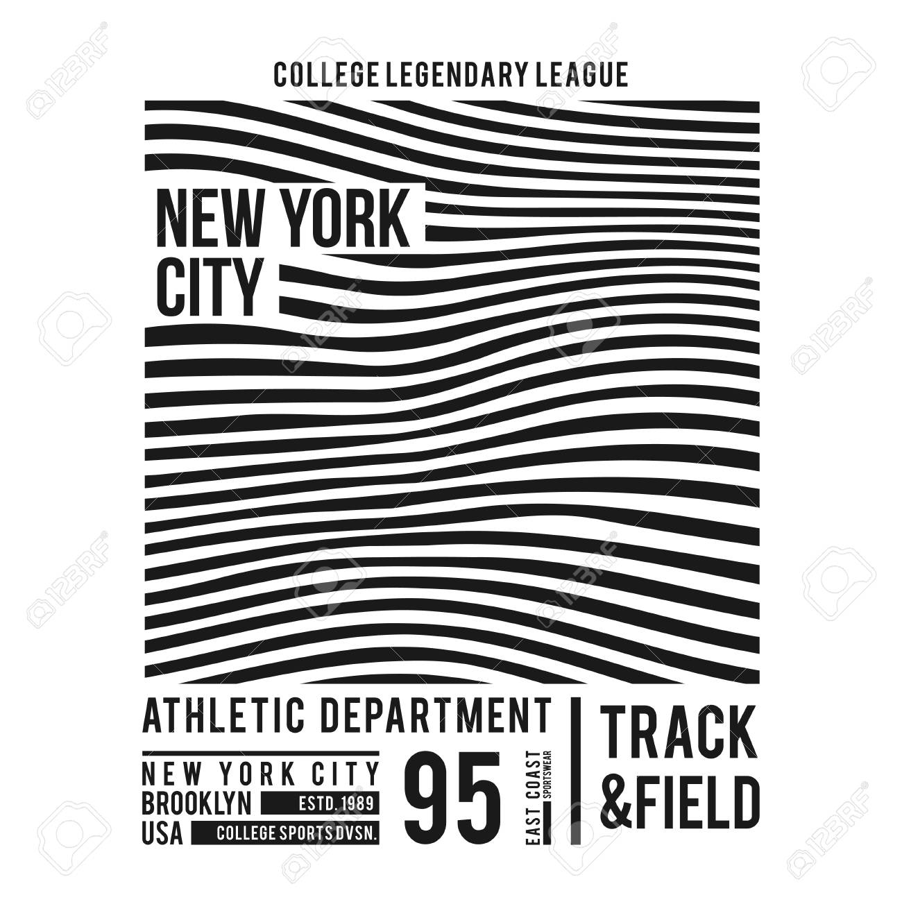 New York typography for t-shirt print. Abstract lines with text for modern tee shirt graphics in varsity style. Vector illustration. - 96525729
