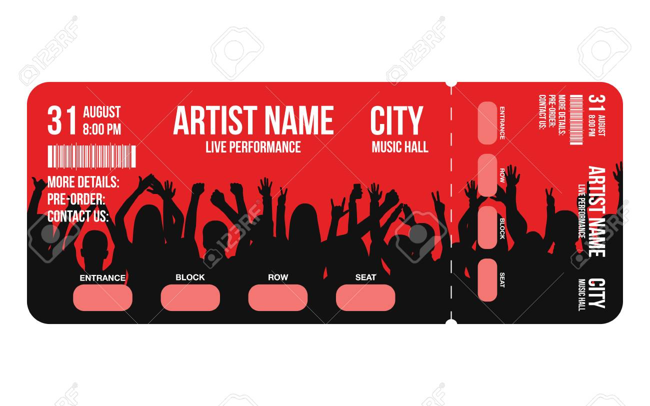 Concert Ticket Template. Concert, Party Or Festival Ticket Design ...