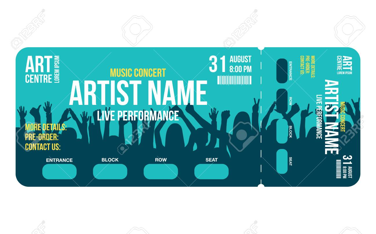 Concert ticket template. Concert, party or festival ticket design template with people crowd on background. Entrance to the event. Vector - 96805142