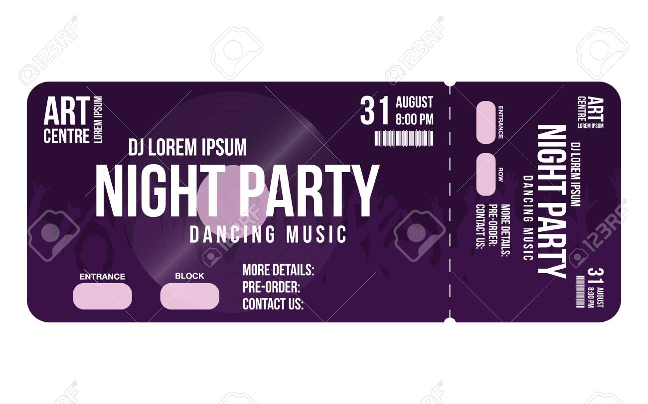 Concert ticket template. Concert, party or festival ticket design template with people crowd on background. Entrance to dj party. Vector - 96805144