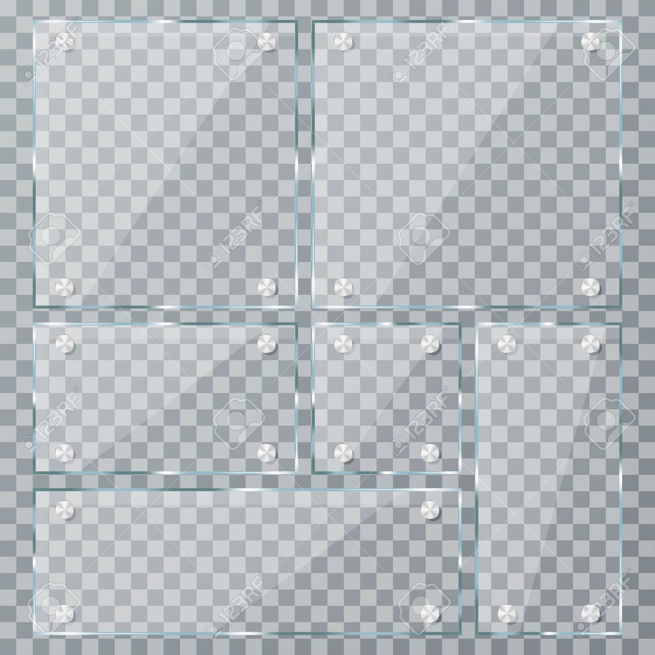 Glass Plate Set On Transparent Background Empty Realistic Acrylic Royalty Free Cliparts Vectors And Stock Illustration Image 97882396
