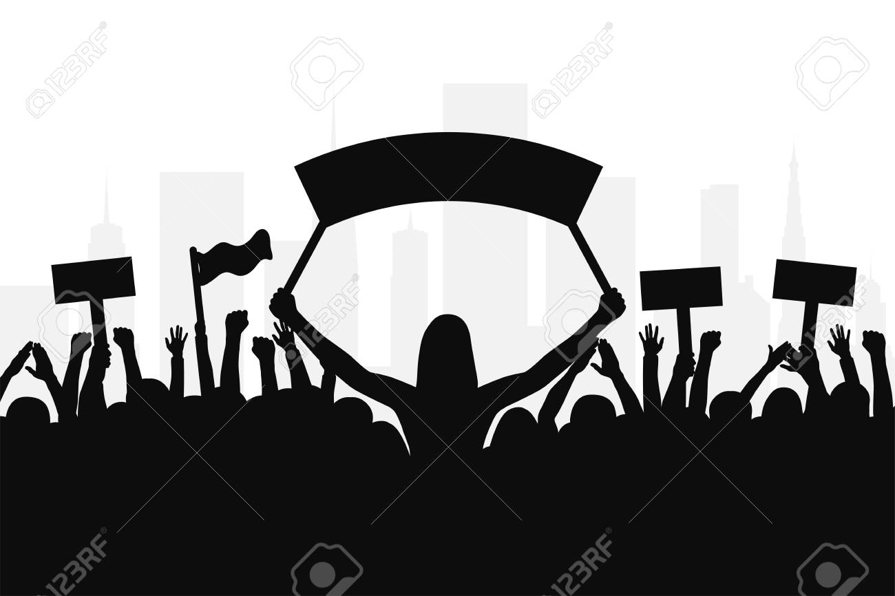 Crowd of protesters people. Silhouettes of people with banners and with raised up hands. Concept of revolution and political or social protest. Vector - 98466003