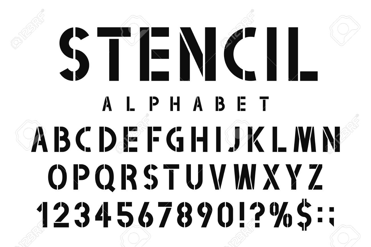 Military stencil font  Stencil alphabet with numbers in retro