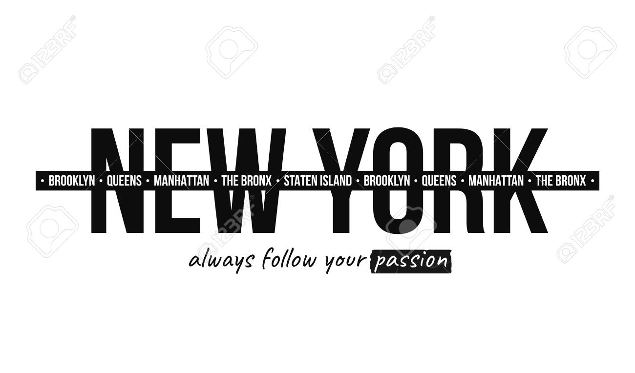 Slogan graphic for t-shirt print. T-shirt design with slogan. New York, modern typography for tee print with stripes. Vector - 111614346