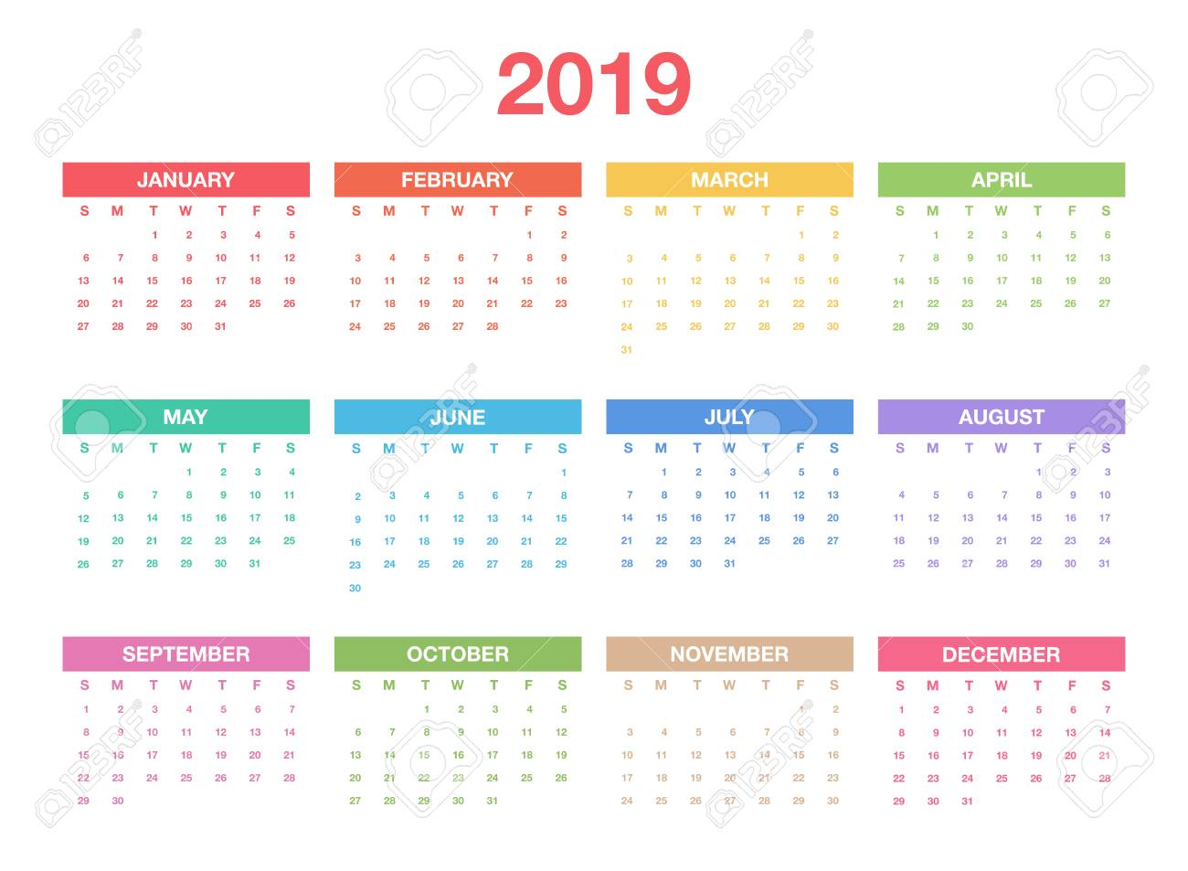 Calendar 2019 Template Colorful Calendar Design For Planner