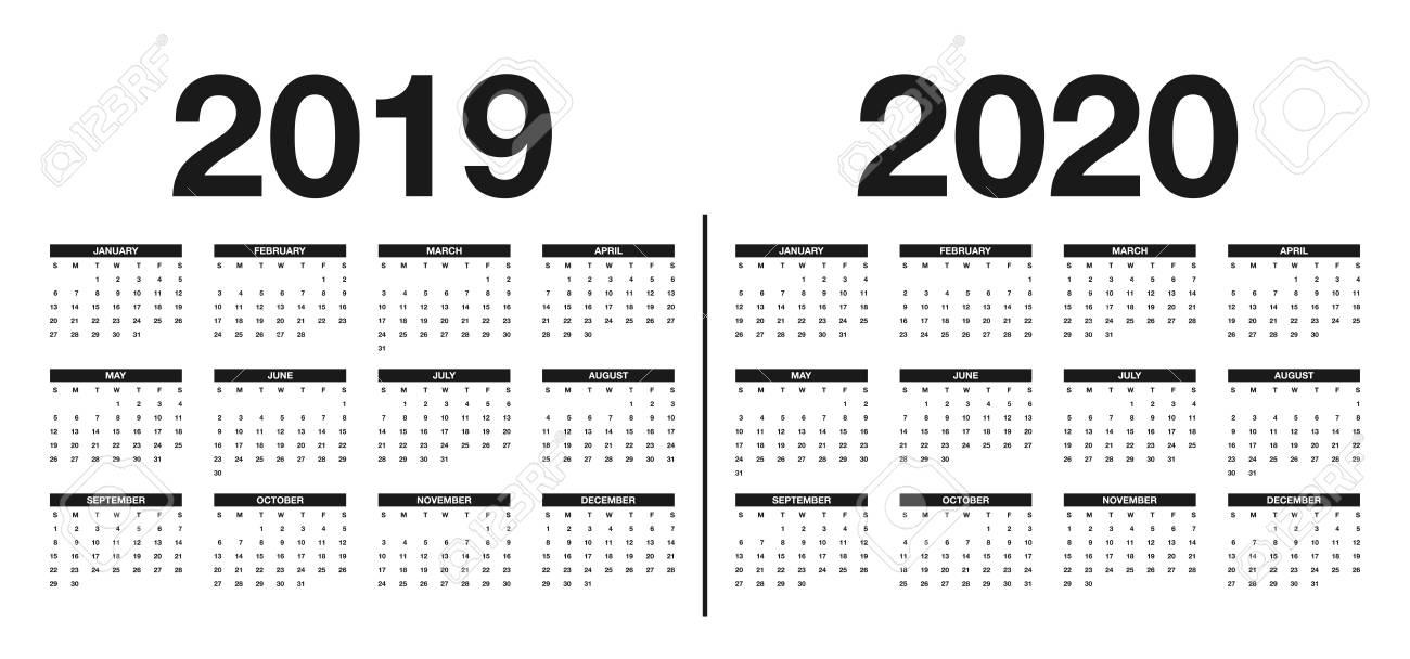 Printable Calendar 2019 And 2020.Calendar 2019 And 2020 Template Calendar Design In Black And