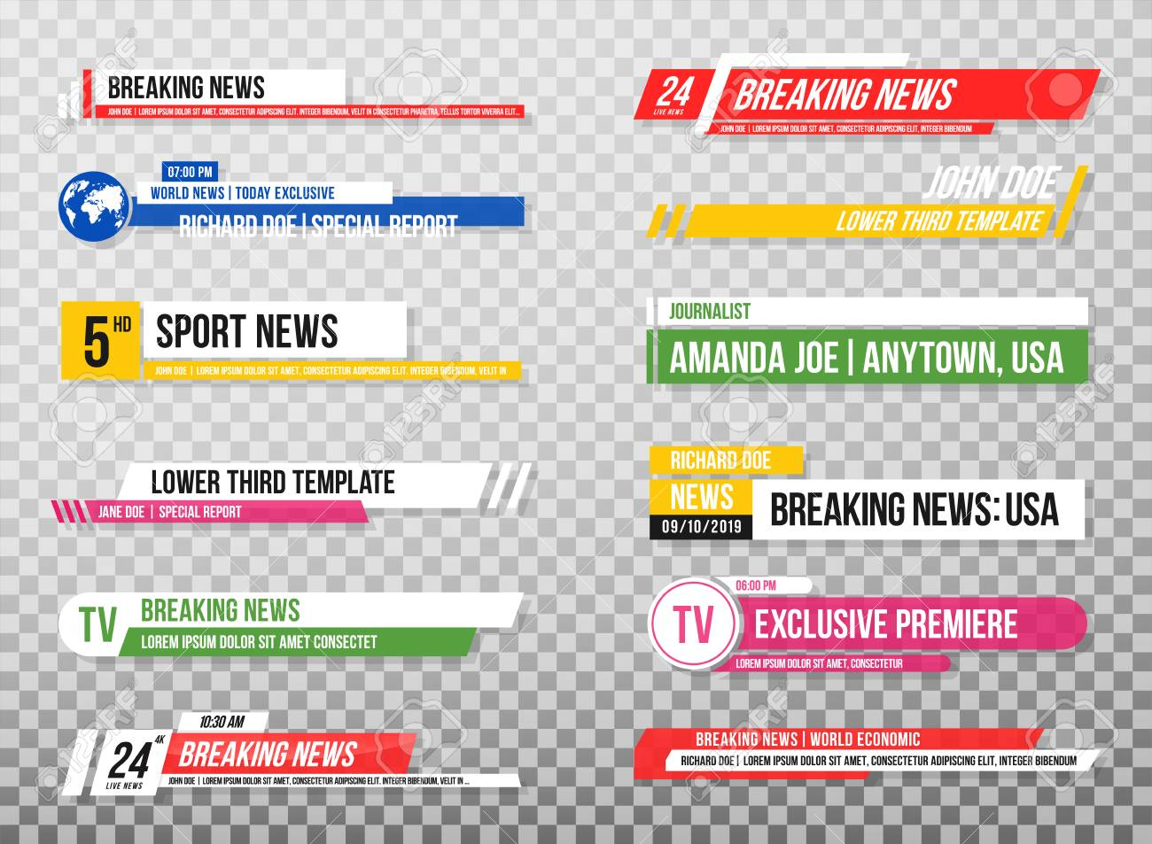 Lower third template  Set of TV banners and bars for news and