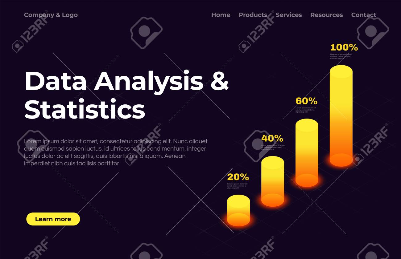 Landing Page Template | Data Analysis And Statistics Landing Page Template With Isometric
