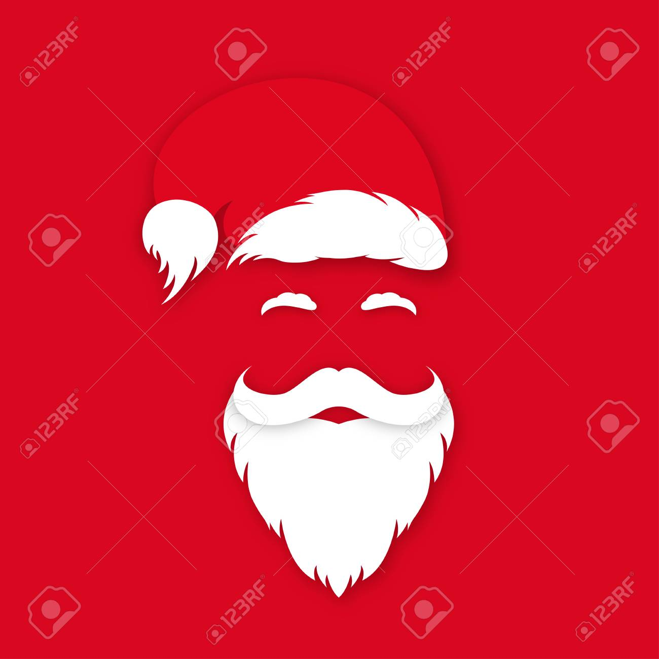 d23791fa50a83a Vector. Santa Claus in hat on red background. Santa Claus's face silhouette  with lush beard,