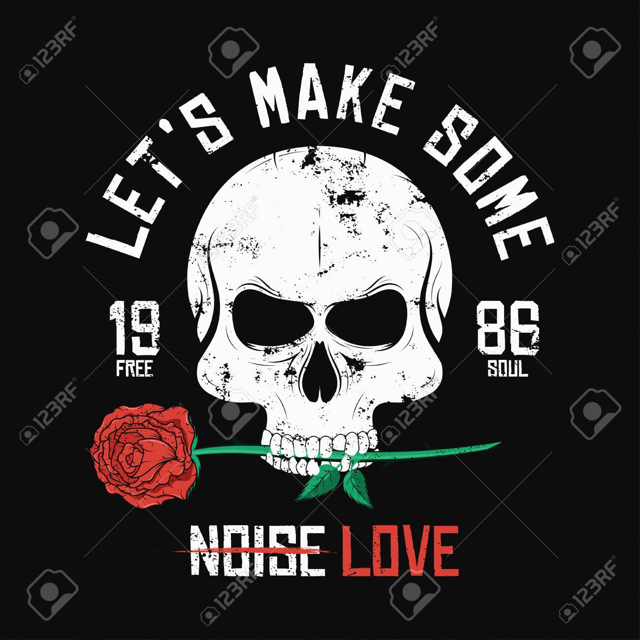 Rock Music Style T Shirt Design Skull Is Biting And Holding