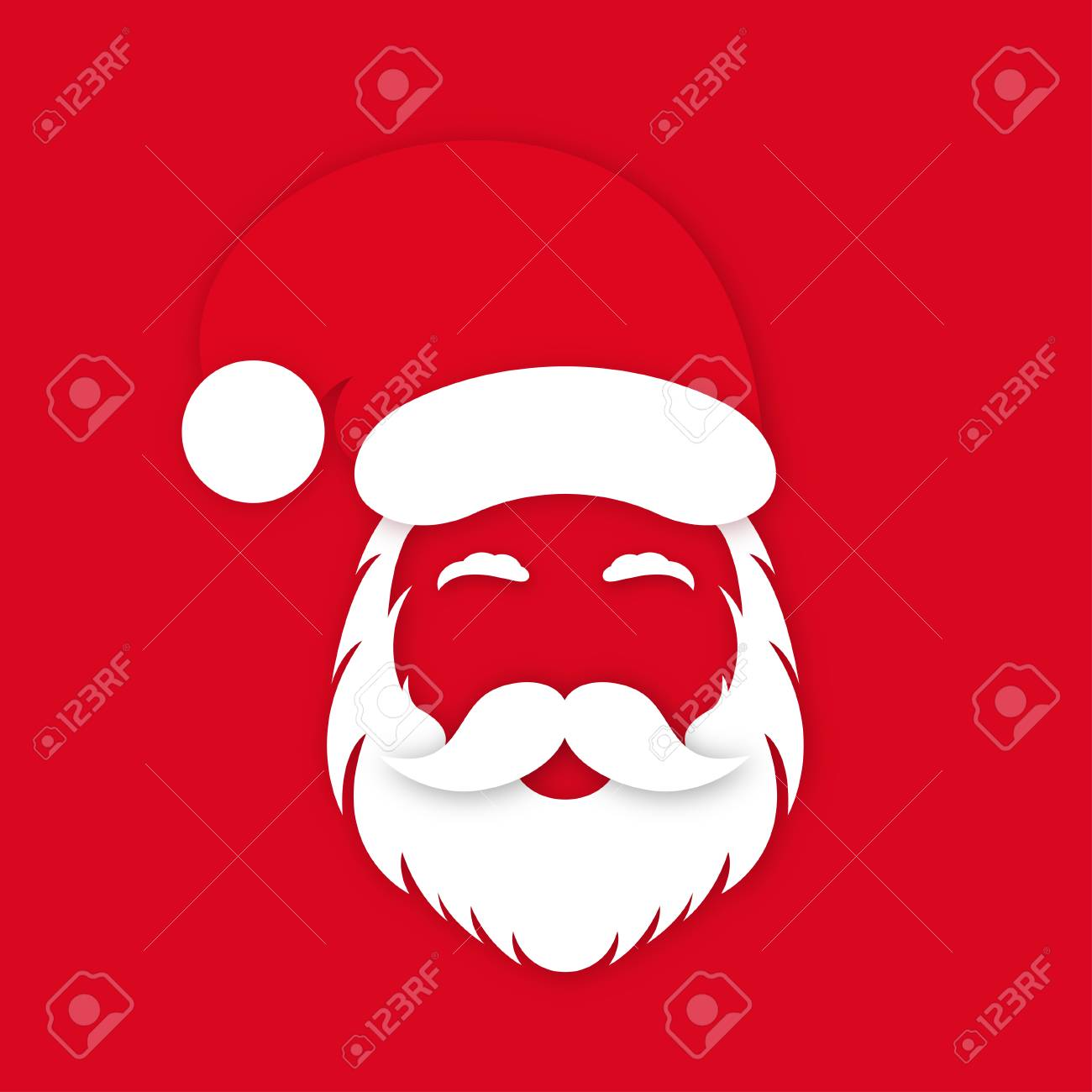 Santa Claus in hat on red background. Santa Claus's face silhouette with lush beard, mustaches and eyebrows. Vector - 127273320
