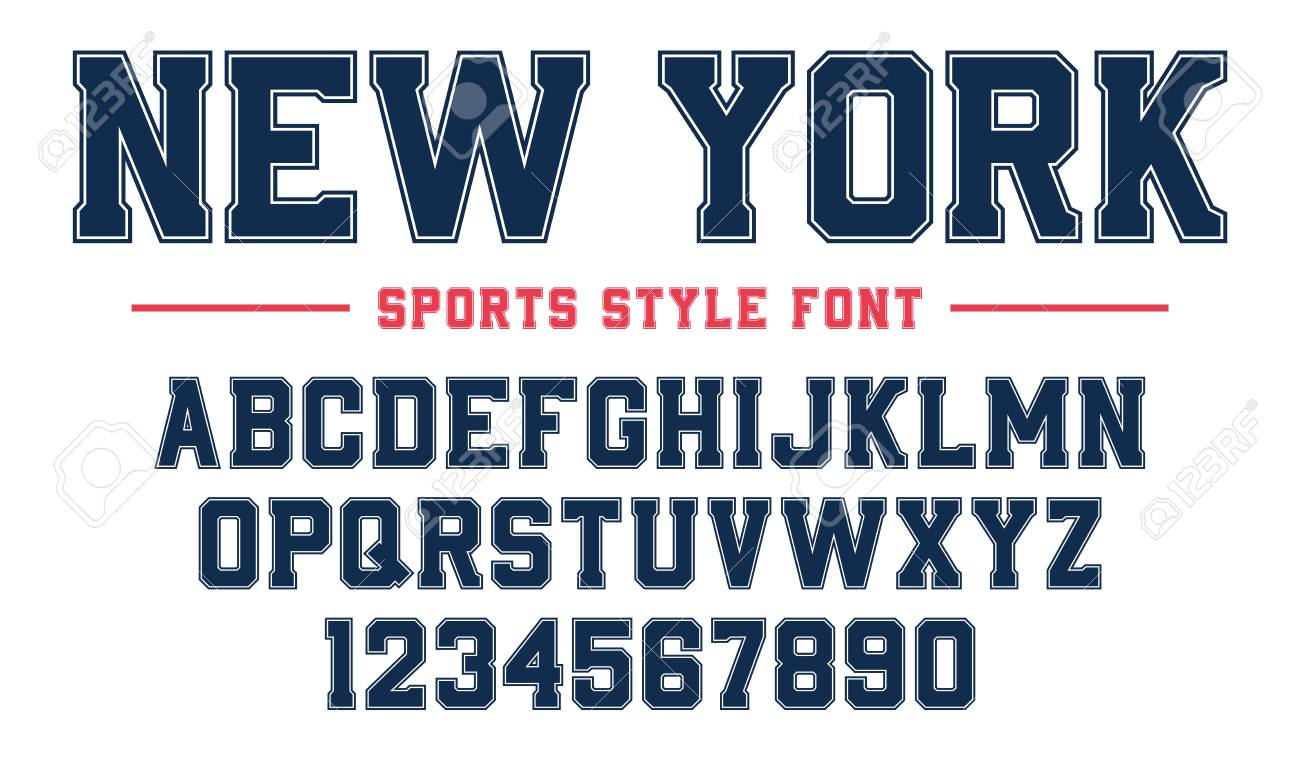 Classic college font  Vintage sport serif font in american style