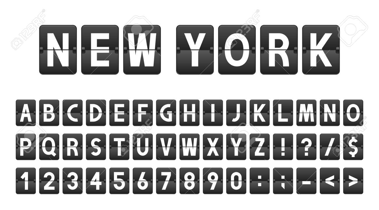 Creative font in airport board style, airline timeboard. Letters and numbers in vintage style, flip flap alphabet. Airport scoreboard, information panel, schedule. - 128327674