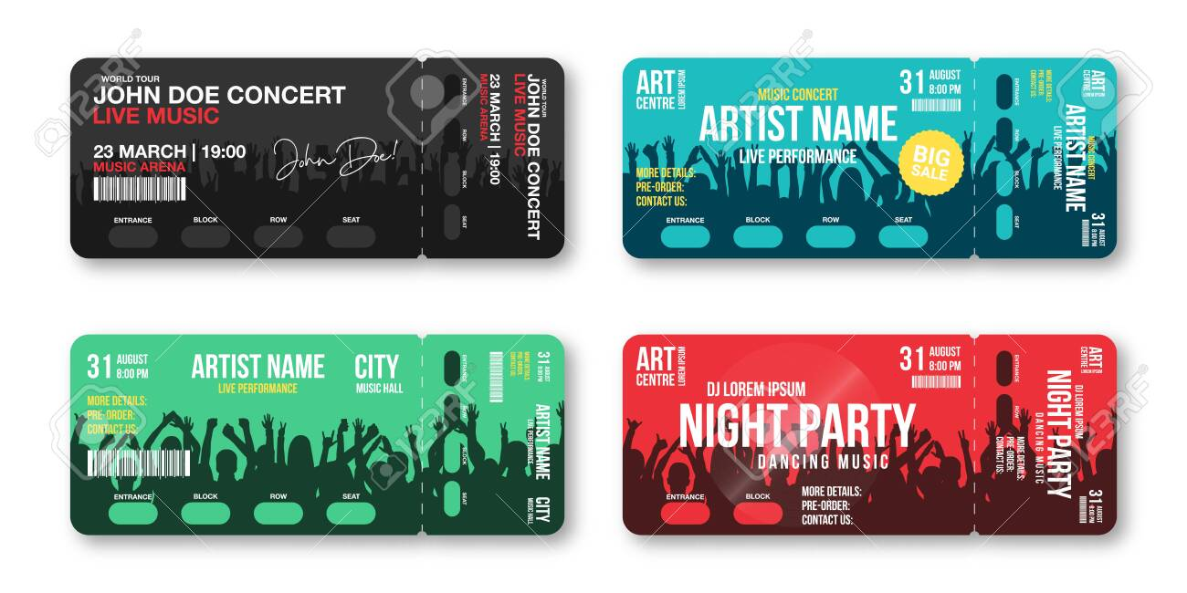 Set of concert tickets template  Concert, party, disco or festival