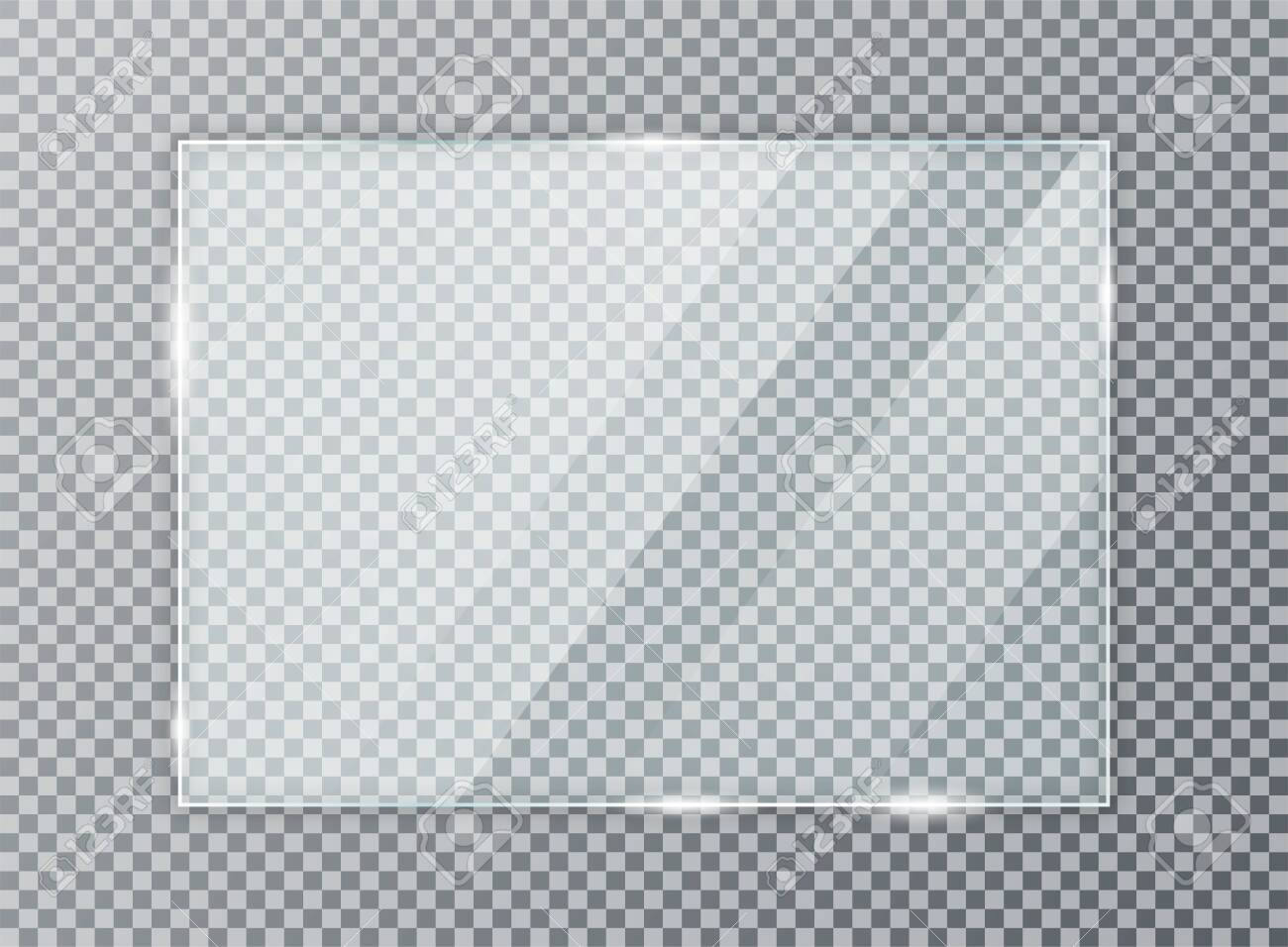 Glass plate on transparent background. Acrylic and glass texture with glares and light. Realistic transparent glass window in rectangle frame. - 128327682