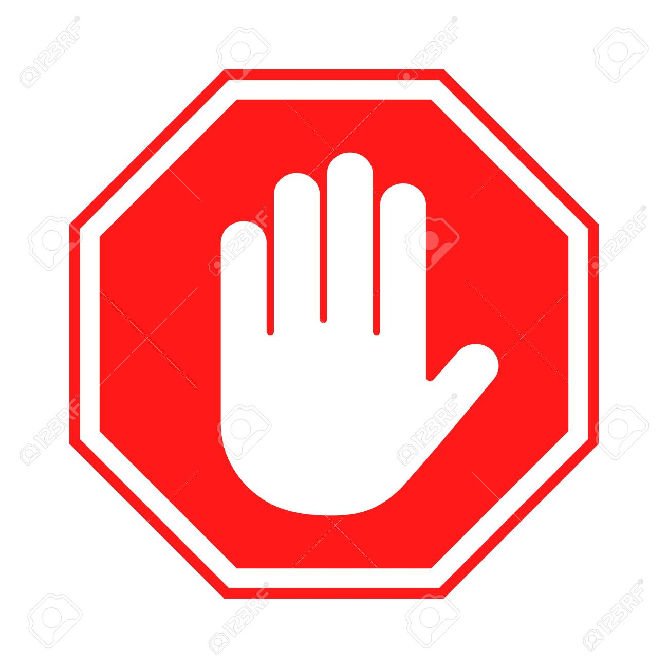 Stop sign. Red forbidding sign with human hand in octagon shape. Stop hand gesture, do not enter, dangerous. Vector - 146886109