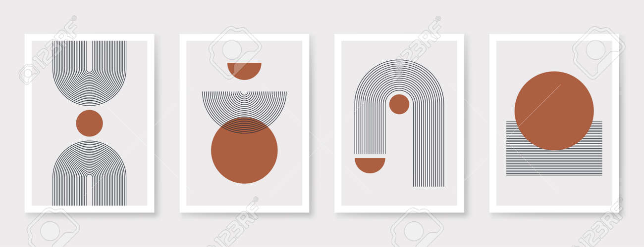 Abstract art poster with geometric shapes, lines and organic composition. Scandinavian and Boho style poster, trendy interior poster design. Minimalist abstract art. Vector - 171145352
