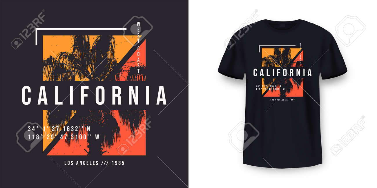 California, Los Angeles t-shirt design. T shirt print design with palm tree. T-shirt design with typography and tropical palm tree for tee print, apparel and clothing. Vector - 171145400