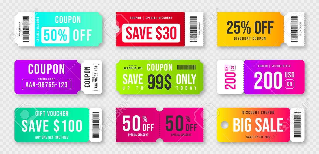 Set of discount coupons and gift vouchers. Discount voucher, gift coupon design. Colorful coupon template for big sale, special offer. Vector - 172746943