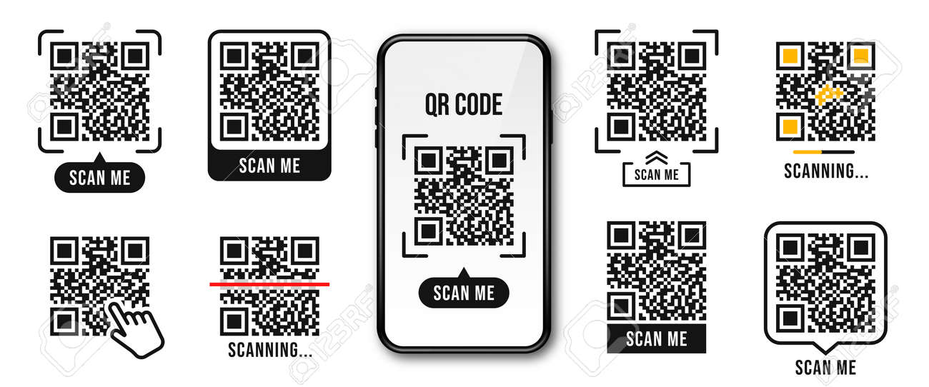 QR code, Quick Response code. QR code templates frames. Scan me, scanning tags of QR code. Set of templates for payment, link, application etc. Vector - 173128168