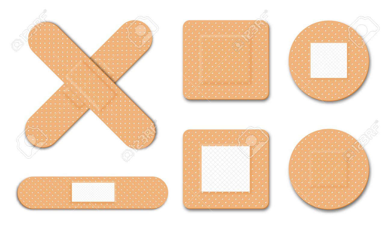 First aid, medical bandage or patch. Adhesive plaster for damaged skin and wound. Set of different medical patches for first aid. Realistic medical bandages in different shapes. Vector - 173843133