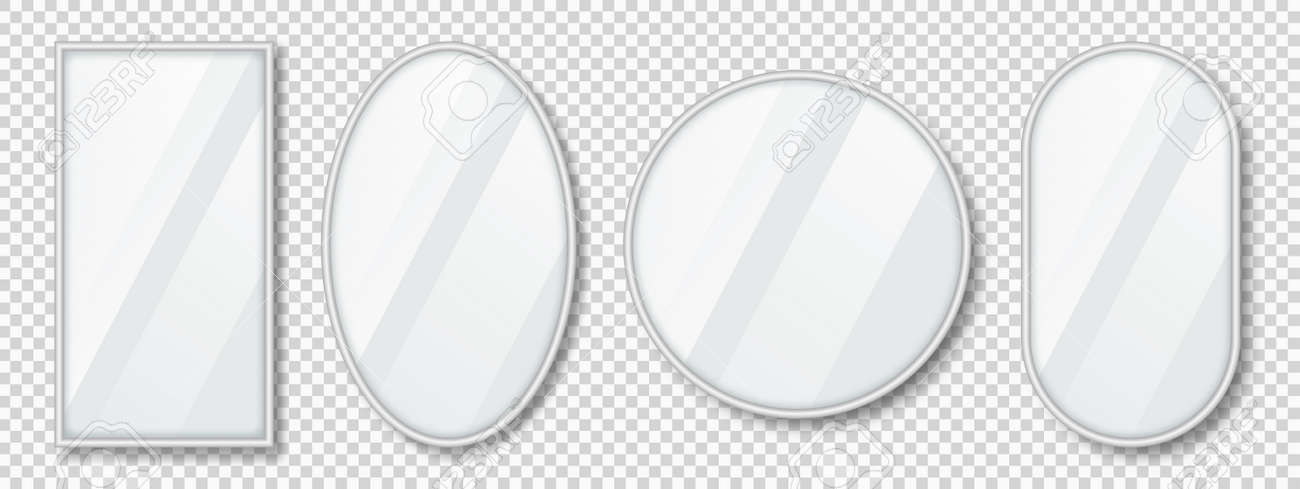 Set of mirrors with reflection in silver frame. Realistic mirrors with blurry glass effect. Mirror surface on transparent background. Vector - 173843110
