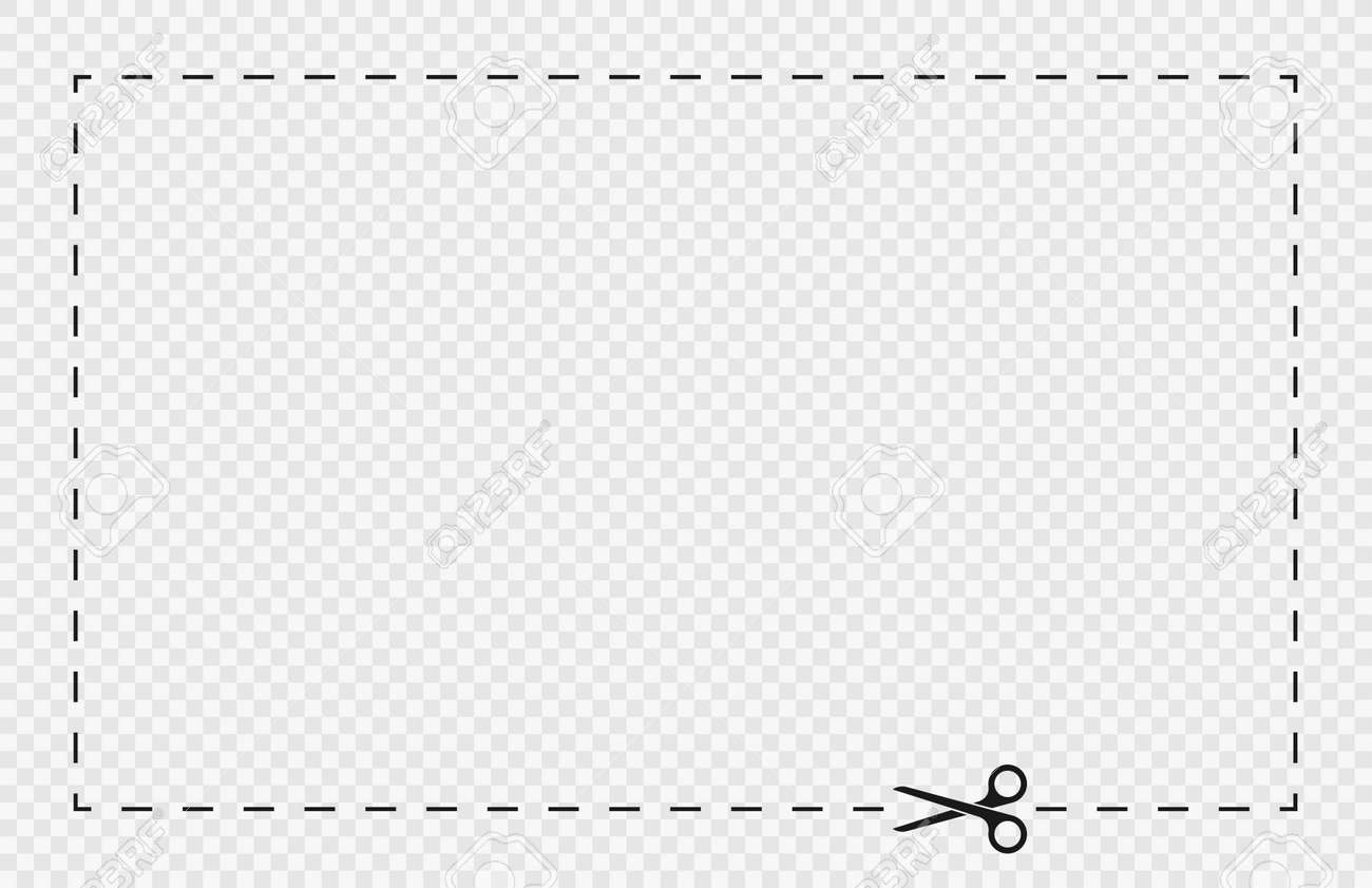 Cut lines and dashed lines, scissors icon. Cut line guide for coupon, tag and discount voucher. Black scissors with dotted line, paper cut guide. Vector - 173843063