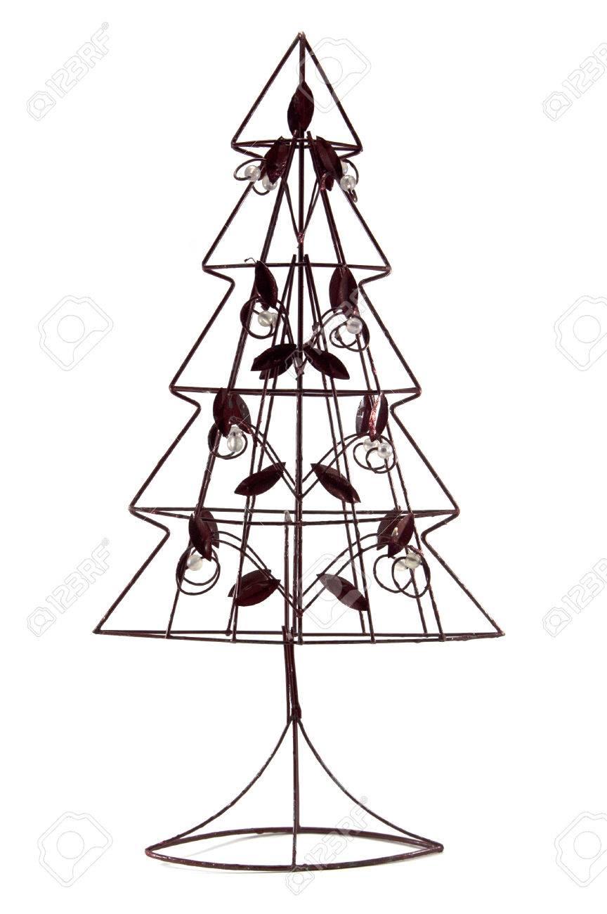 Metall Weihnachtsbaum Auf Weißem Hintergrund Lizenzfreie Fotos ...