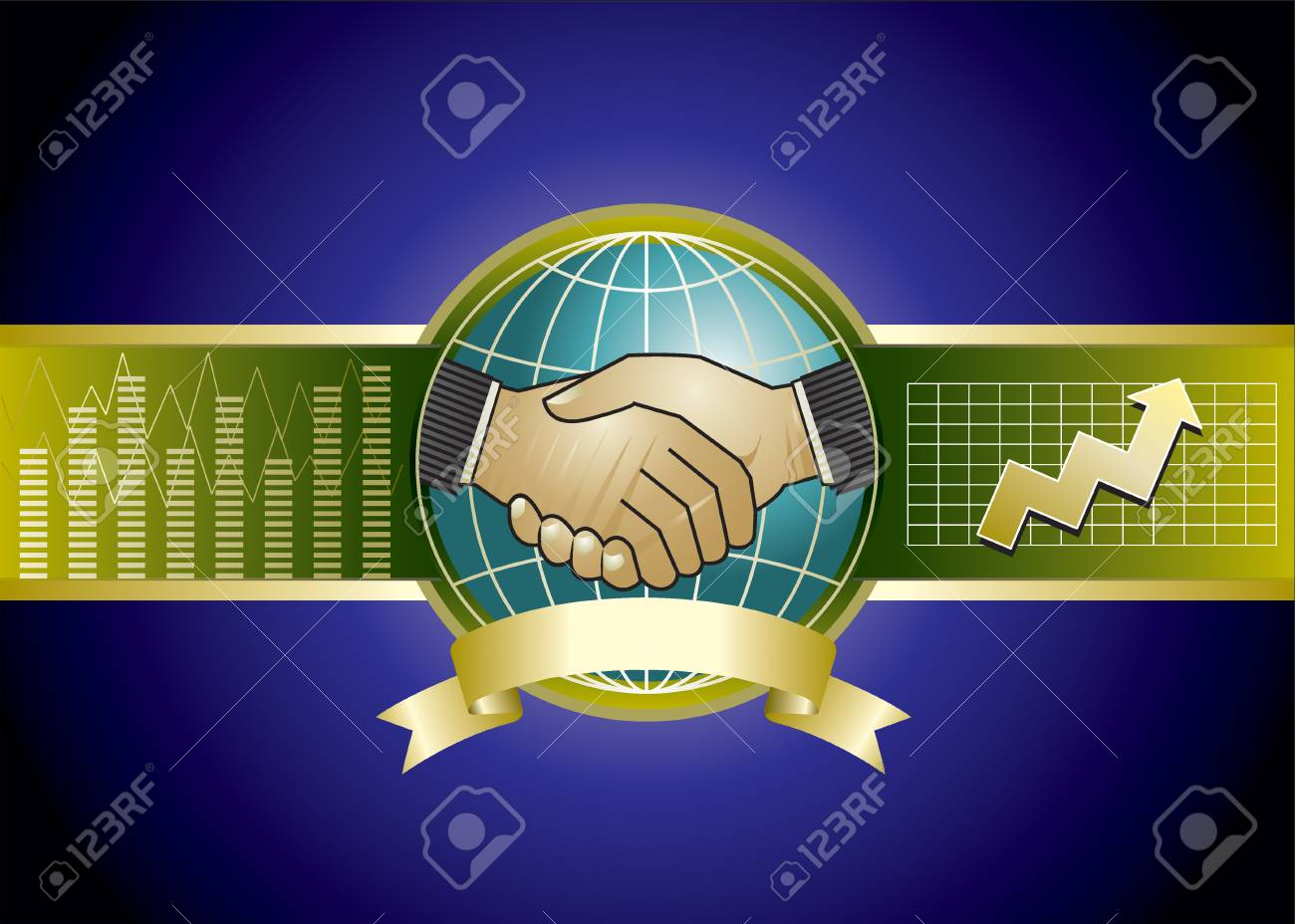 design of two businessmen handshaking and background Stock Vector - 2034800