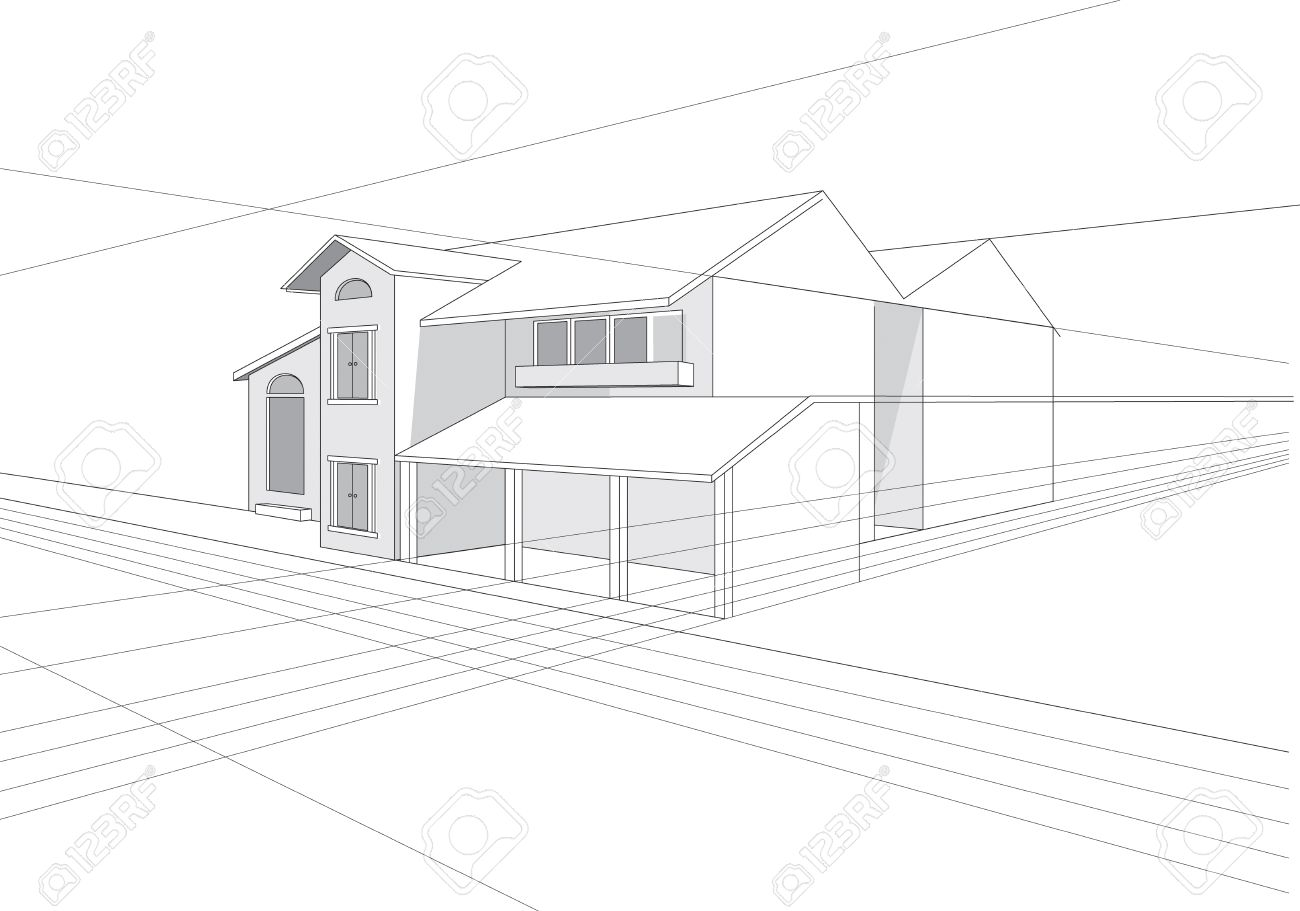Vector Outline Stroke File Of Building Plan Design Royalty Free