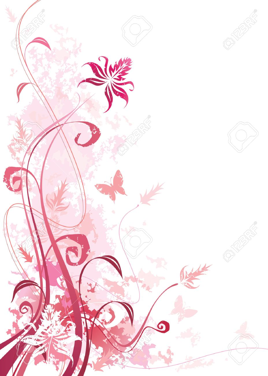 Pink Color Floral With Grunge Effects Vector Illustration Layered