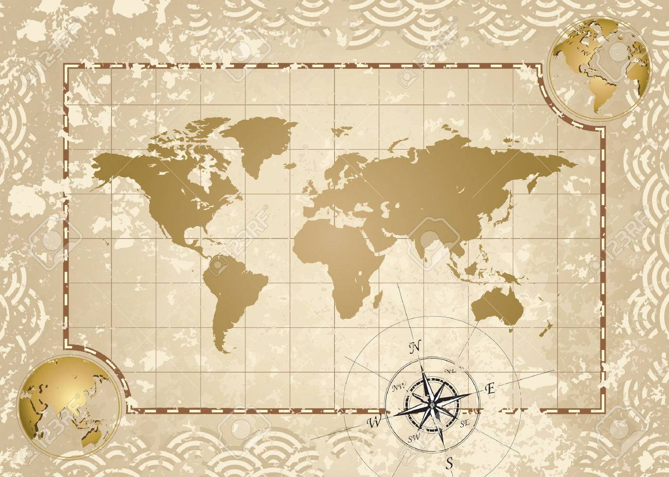 Antique Style World Map Vector Illustration Layered Royalty Free - Map of the world antique style