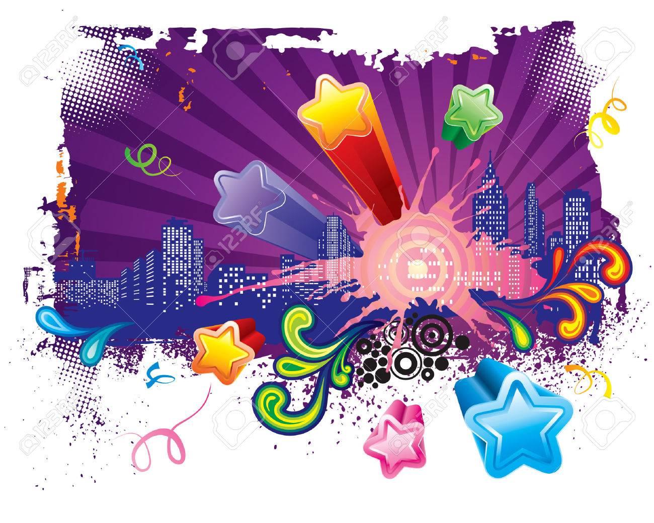 Let's go party, Urban celebration design, vector layered. Stock Vector - 4445729