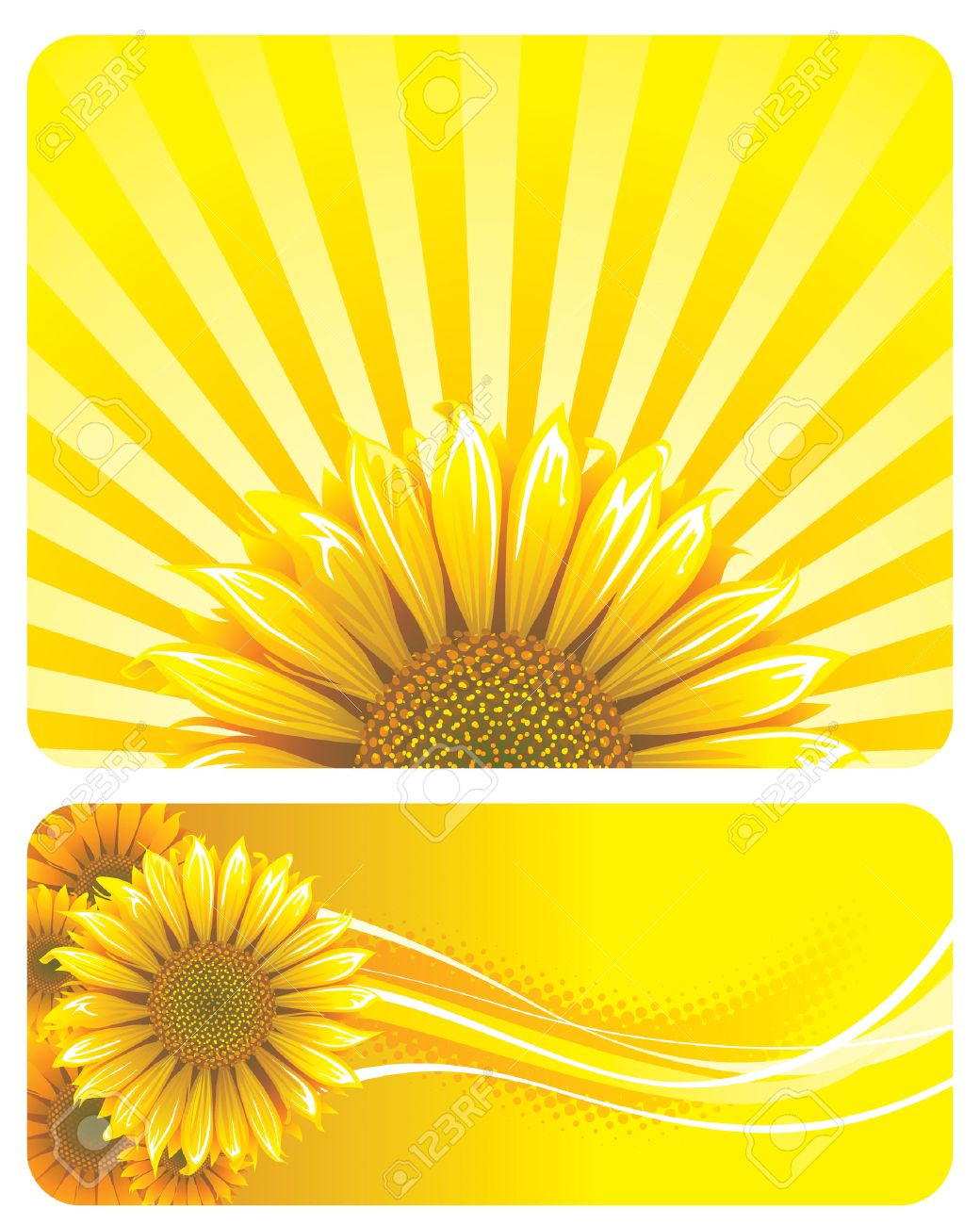 Sunflower and yellow background design. Vector layered. Stock Vector - 4603535