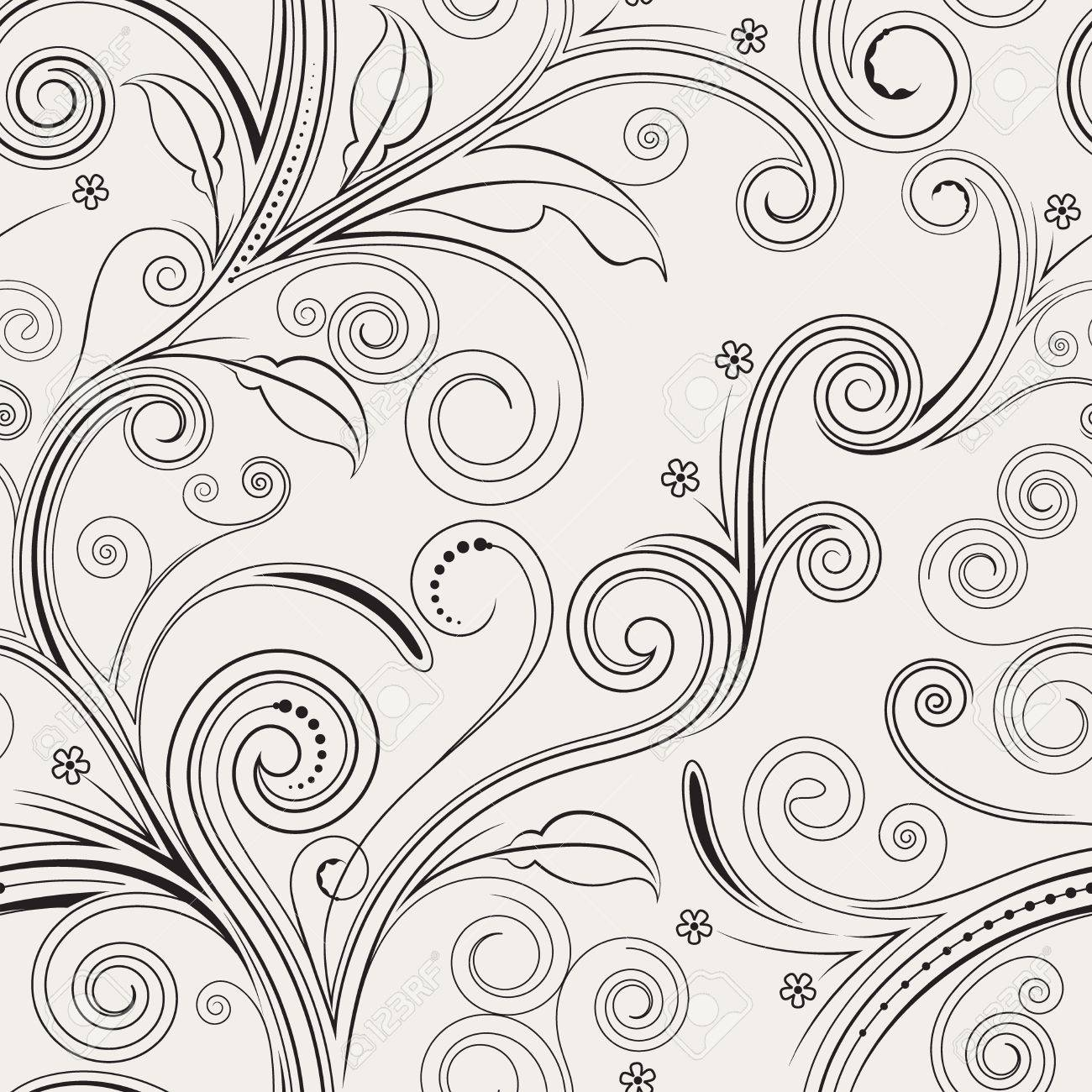 Seamless both side floral pattern. vector illustration. Stock Vector - 5159456