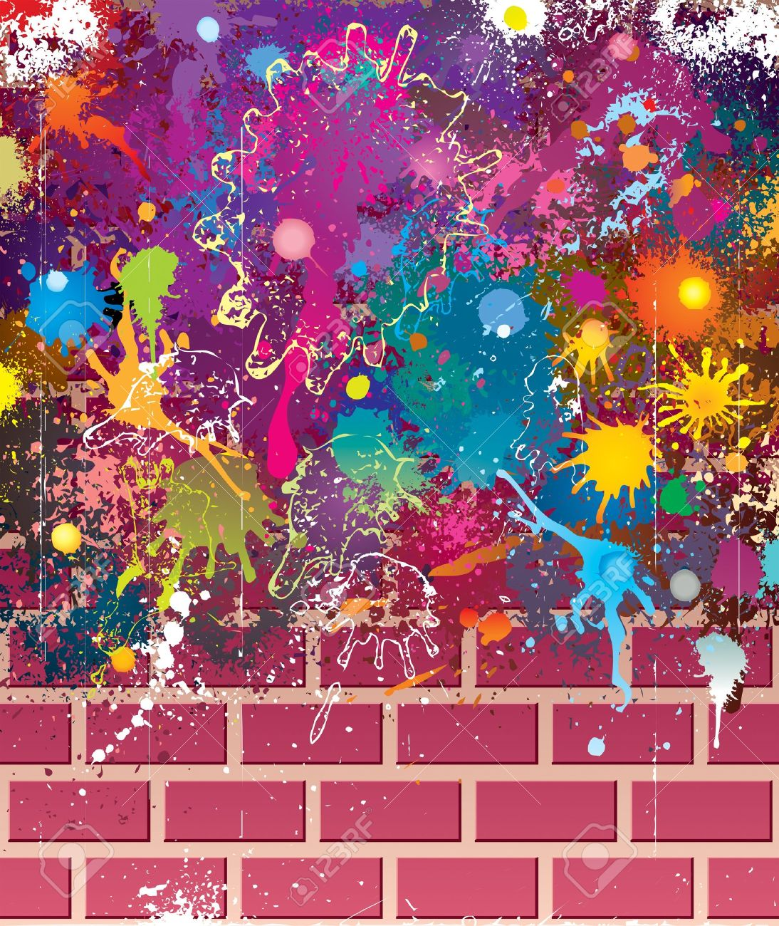 Graffiti wall vector free - Splatter Colors On Brick Wall Stock Vector 9850731