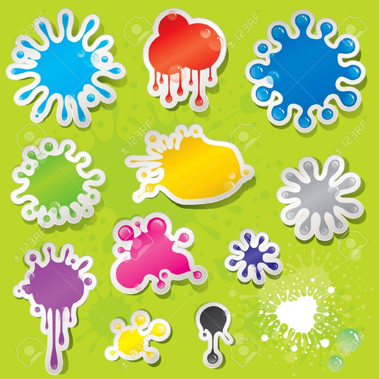 Set of colors splashes stickers with water drops. Stock Vector - 13583234