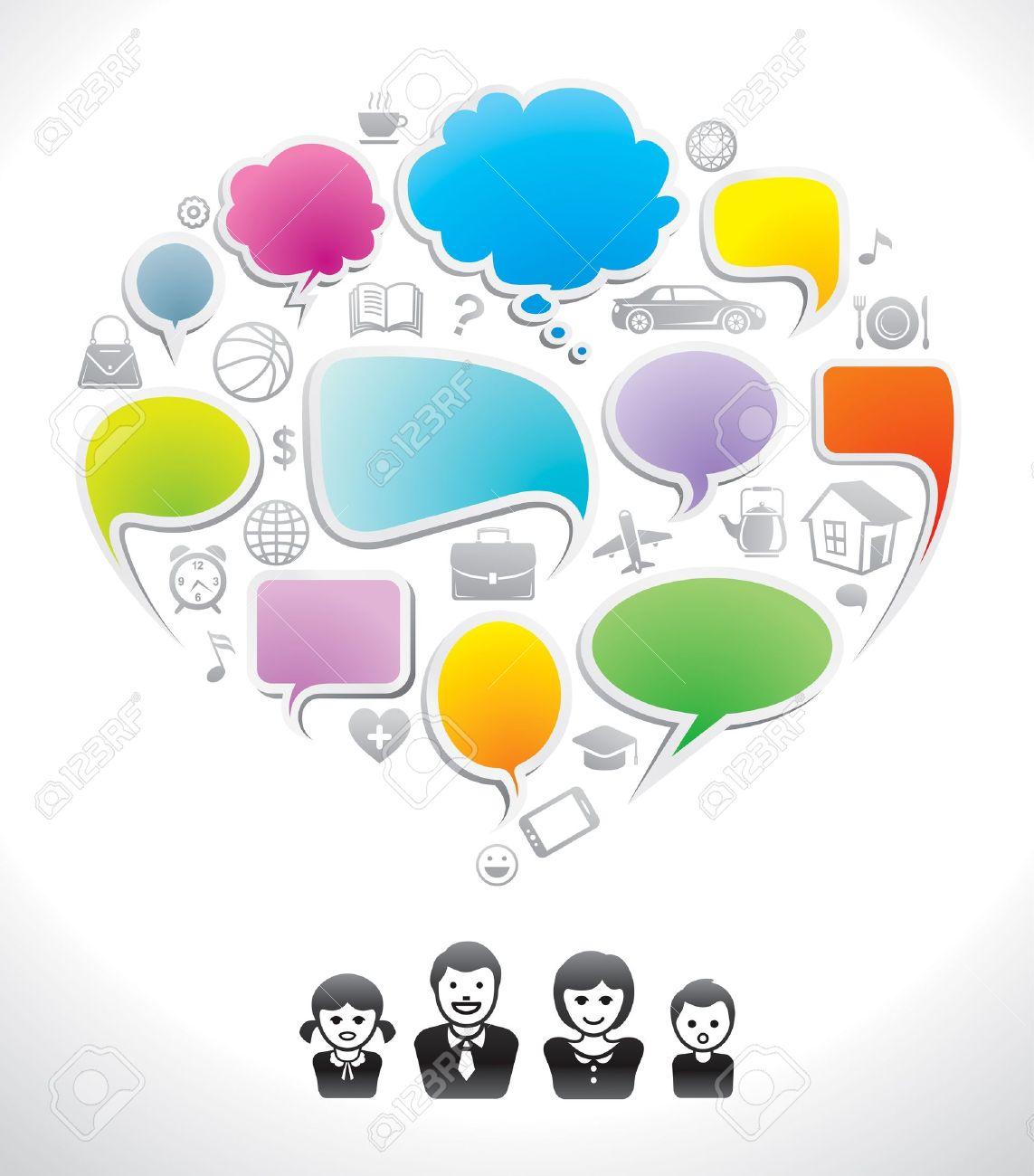 Family chat, communication speech icon, dialog, speak bubble - 14162581