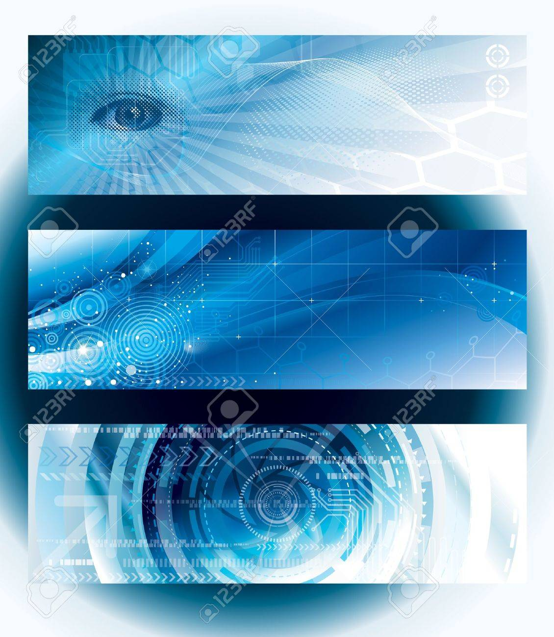 Set of abstract technology web banner. Stock Vector - 16212260
