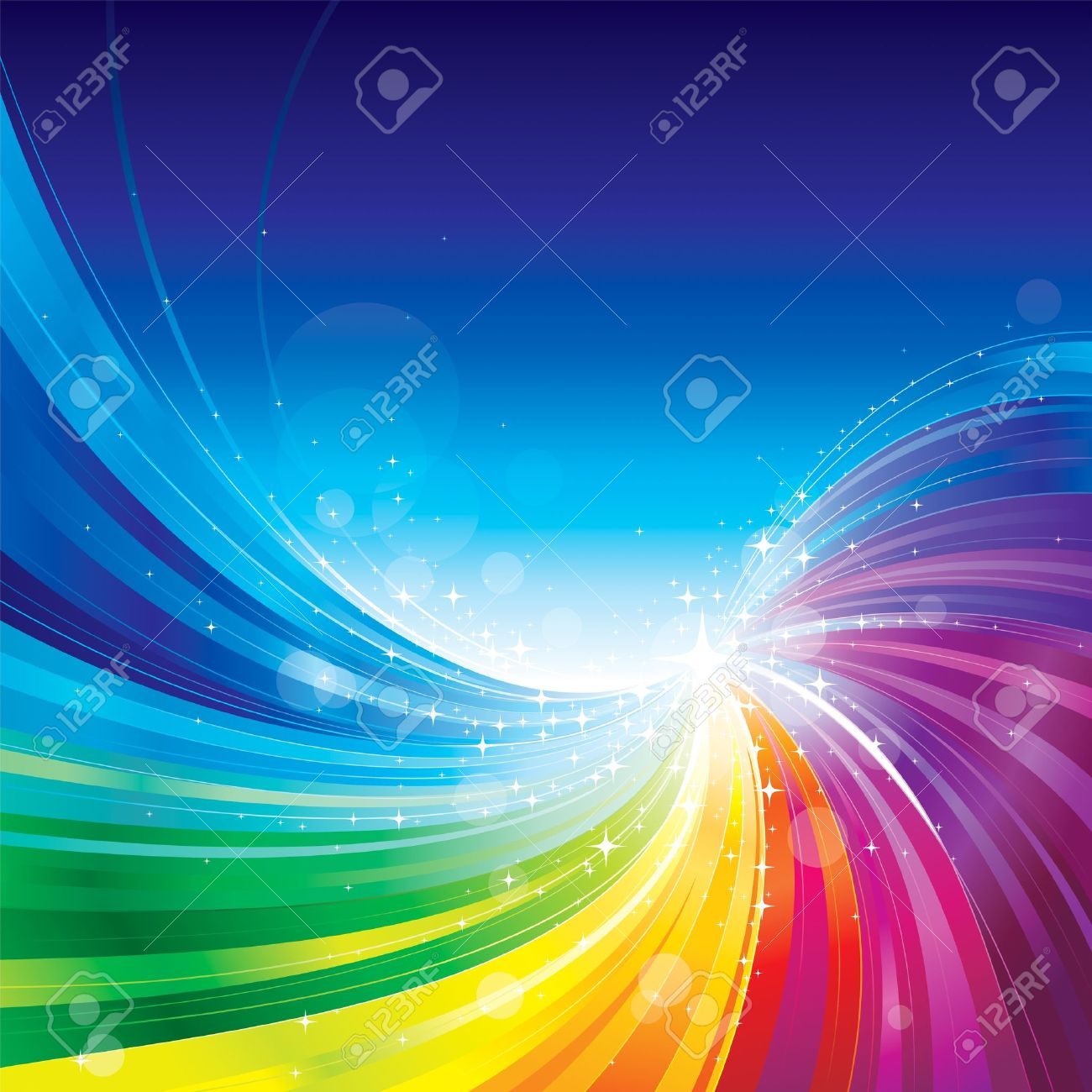 Abstract rainbow colors wave background. - 16453396